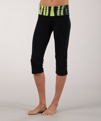 Sharp Green Shirred Straight Capri Pants