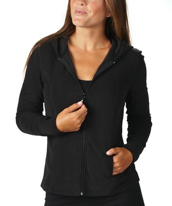 Black Fleece Zip-Up Hoodie
