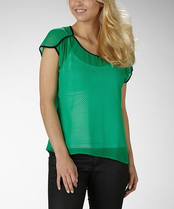 Jade & Black Polka Dot Berkley Top