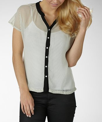 Ivory & Black Polka Dot Button-Up
