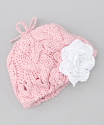 Sweet Pink Flower Beanie & Clip - Infant