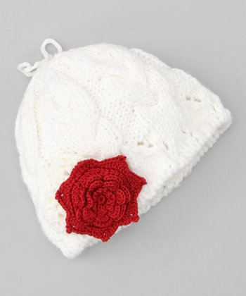 Sweet Cream & Cranberry Flower Beanie & Clip - Infant