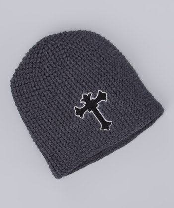 Gray Cross Crochet Beanie