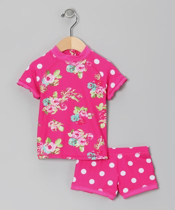 Pink Rose Rashguard Set - Infant