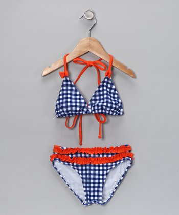 Navy & Red Gingham Bikini - Toddler & Girls