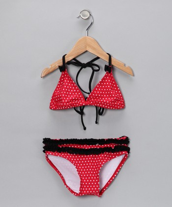 Red & Black Polka Dot Bikini - Toddler & Girls