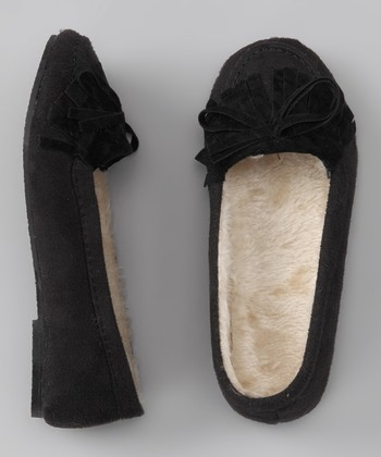 Black Cozy Moccasin