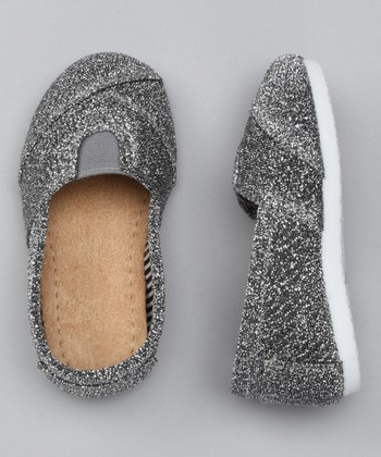Silver Glitter Wrapped Panel Slip-On Shoe