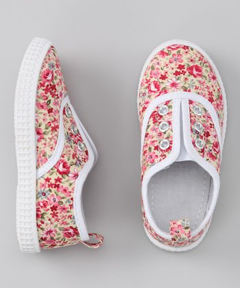 Red Flower Slip-On Sneaker