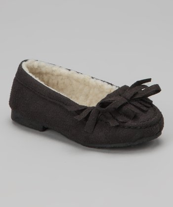Black Fringe Cozy Bow Moccasin