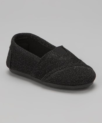 Black Glitter Wrapped Panel Slip-On Shoe