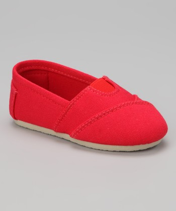 Red Wrapped Panel Canvas Slip-On Shoe