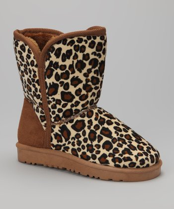 Black & Beige Leopard Cozy Boot
