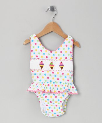 White Polka Dot Ice Cream One-Piece - Infant, Toddler & Girls
