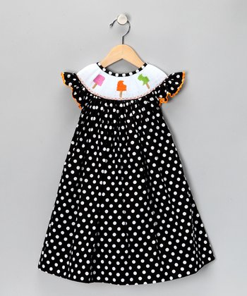 Black Polka Dot Angel-Sleeve Dress - Infant, Toddler & Girls