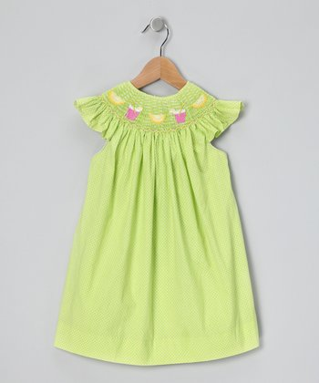 Lime Pin Dot Smocked Angel-Sleeve Dress - Toddler & Girls