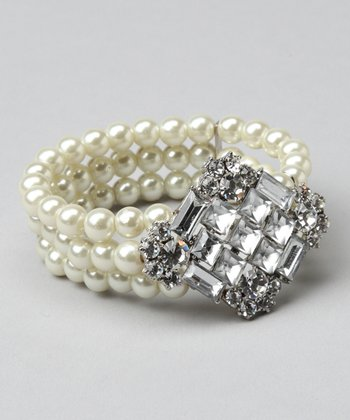 White Pearl & Clear Crystal Pendant Stretch Bracelet