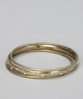 Antique Gold Sparkle Bangle Set