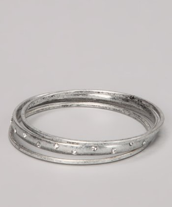 Antique Silver Sparkle Bangle Set