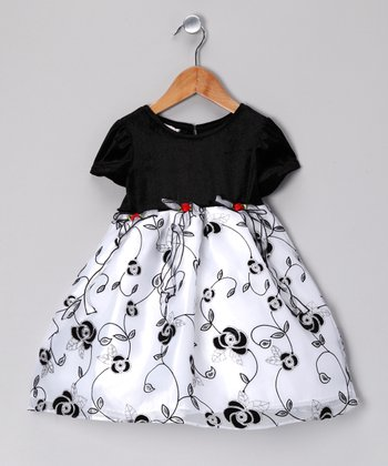 Black & White Floral Dress - Infant, Toddler & Girls