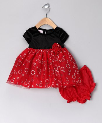 Red & Black Bubble Velvet Dress & Diaper Cover - Infant