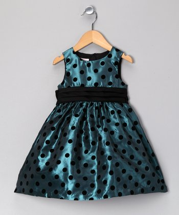 Teal & Black Velvet Polka Dot Dress - Toddler