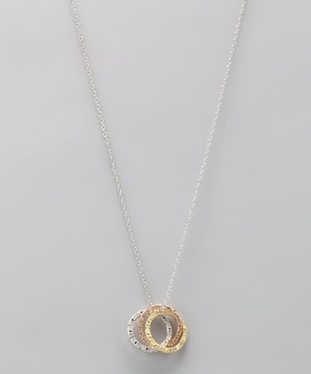 Metallic Diamond Trio Pendant Necklace
