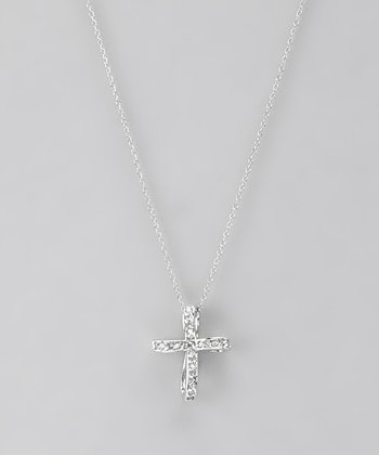 Diamond & Sterling Silver Ribbon Cross Pendant Necklace