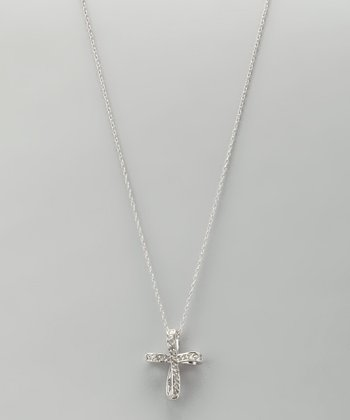 Diamond & Sterling Silver Twist Cross Pendant Necklace