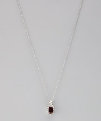 Garnet & Diamond Pendant Necklace