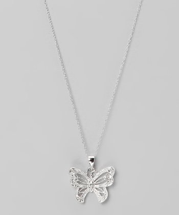 Diamond & Sterling Silver Butterfly Pendant Necklace