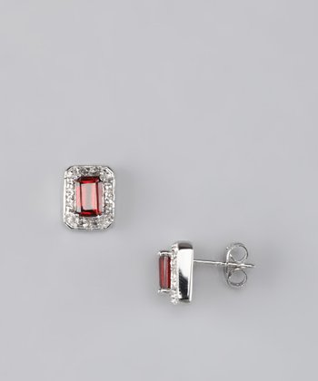 Garnet & Diamond Stud Earrings