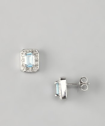 Blue Topaz & Diamond Stud Earrings