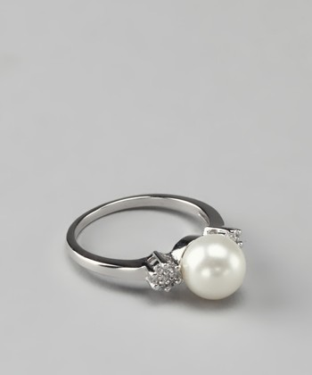 White Shell Pearl Diamond Ring