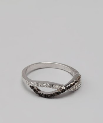 Chocolate Diamond & Sterling Silver Crisscross Bangle
