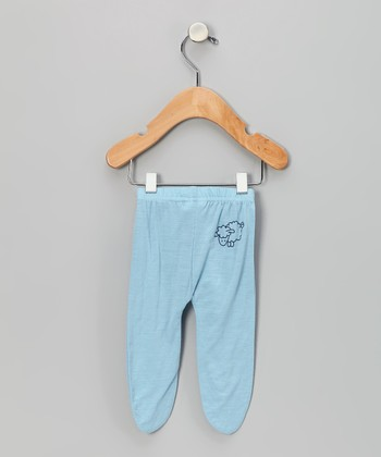 Blue Merino Wool Footie Pants - Infant
