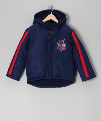 Navy & Red Spider-Man Puffer Coat - Boys