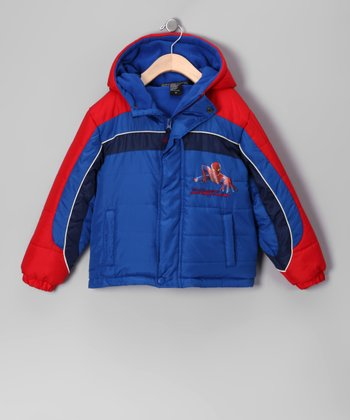 Blue & Red Spider-Man Puffer Coat - Boys