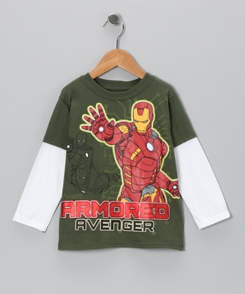 Olive 'Armored Avenger' Layered Tee - Toddler