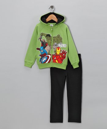 Lime 'Avengers' Zip-Up Hoodie & Pants - Toddler