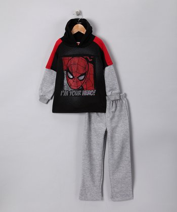 Black Spider-Man Layered Tee & Pants - Toddler