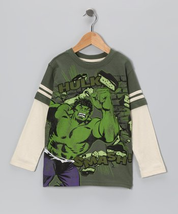 Green 'Hulk' Layered Tee - Boys