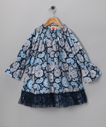 Navy Paisley Parfait Medley Dress - Toddler & Girls