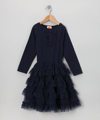 Navy Tulle Dress - Toddler & Girls