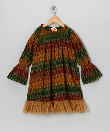 Green & Orange Temple Ikat Medley Dress - Toddler & Girls