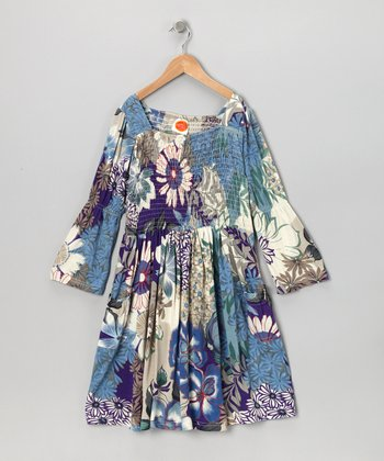 Blue Floral Jazz Dress - Toddler & Girls