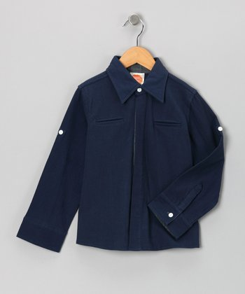 Navy Dandy Button-Up - Toddler & Boys