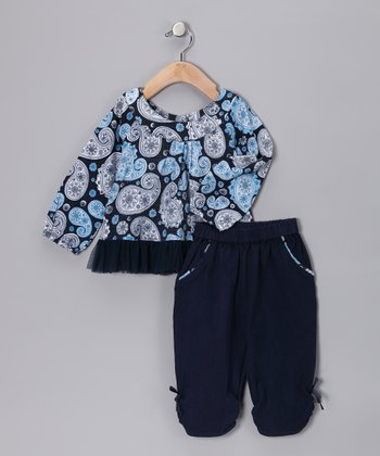 Brushed Navy Paisley Parfait Sufi Tunic & Pants - Infant