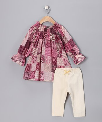 Plum Woodblock Medley Tunic & Cream Leggings - Infant
