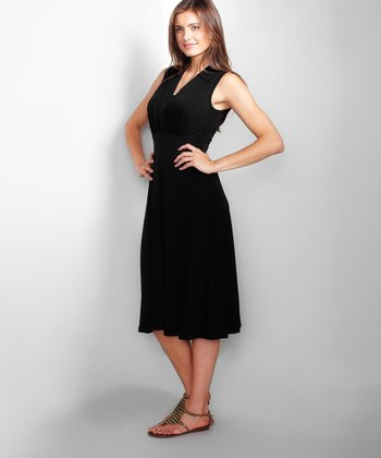 Black Tummy Tuck Nursing Dress